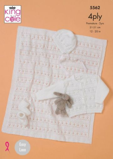 King Cole 5562 Knitting Pattern Baby Cardigan Bonnet Bootees and Blanket in Big Value Baby 4 Ply